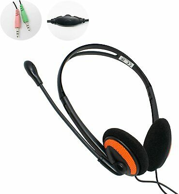 3.5mm COMPUTER HEADSET With MICROPHONE | Zoom Or Skype PC Live Chat | 2x Plugs • 18.97£