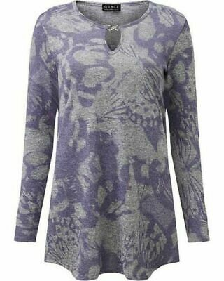 GRACE Purple And Grey Floral Print Knitted, Jersey Top Tunic- New With Tags 1555 • 7.50£