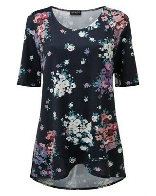 GRACE Blue Floral Print Knitted, Jersey Top Tunic- New With Tags 1659 • 7.50£