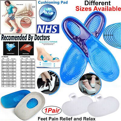 Orthotic Insoles For Flat Feet Arch Support Plantar Fasciitis Back & Heel Pain • 3.59£
