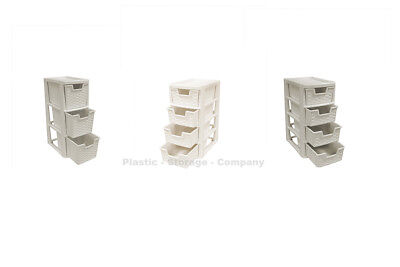 Rattan Style Plastic Storage Towers - Mini Towers - Strong - Home - Bathroom • 12.99£