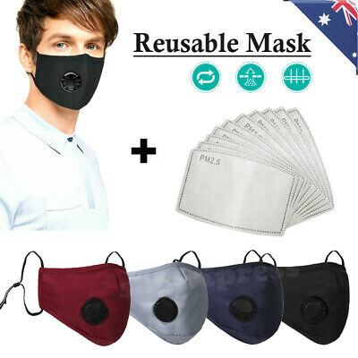 AU12.95 • Buy Reusable Washable PM2.5 Anti Air Pollution Face Mask With Respirator & Filters