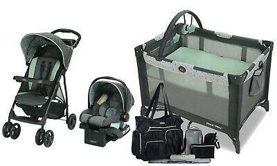 Graco Baby Stroller With Car Seat Travel System Combo Playard Nursery Diaper Bag • 248.91£