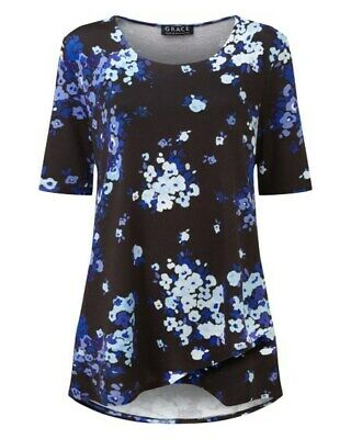 GRACE Black With Blue Floral Print Knitted, Jersey Top Tunic- New With Tags 1660 • 7.50£
