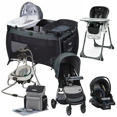 Baby Stroller Travel System With Car Seat Swing Playard Hi-Chair Bag Set Combo • 635.31£