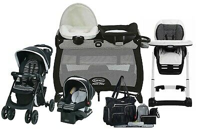 Graco Baby Stroller Travel System With Car Seat Hi-Chair Playard Nursery Bag • 339.36£