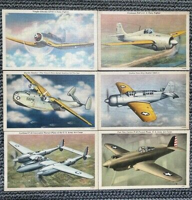 $15.99 • Buy Lot Of 6 Vintage Postcards Military Airplanes Fighter Jets Bomber Planes
