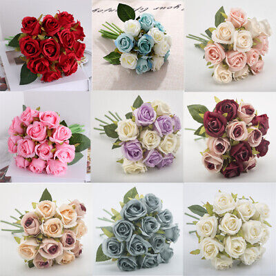 £4.59 • Buy 12 Heads Artificial Silk Flowers Bunch Rose Bouquet Wedding Home Party Decor New