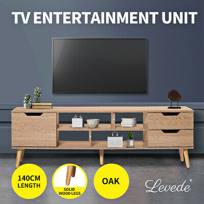 AU139.99 • Buy Levede TV Cabinet Entertainment Unit Stand Storage Drawer Wooden Shelf Oak 140cm