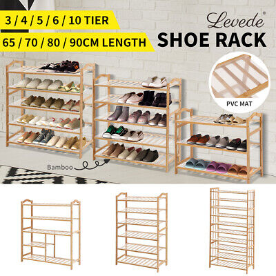 AU27.99 • Buy Levede Bamboo Shoe Rack Storage Wooden Organizer Shelf Shelves Stand 3-10 Tier
