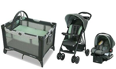 Baby Stroller With Car Seat Playard Nursery Travel System Combo Graco • 216.35£