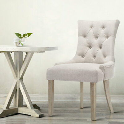 AU152.90 • Buy Artiss French Provincial Dining Chair Wooden Fabric Retro Classic Chairs Beige