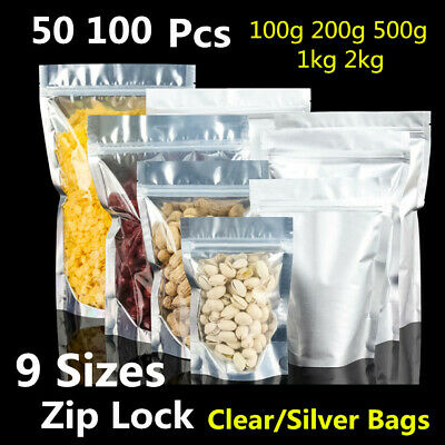 100pcs Aluminum Foil Mylar Stand Up Clear Retail Packaging Bags Zip Lock Pouches • 6.99£