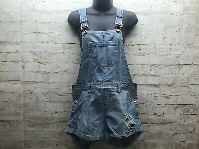 $19.99 • Buy Forever 21 Distressed Overalls Denim Shorts Suspenders Women's Size 27