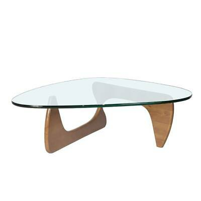 $349.99 • Buy Light Walnut Color Constracted Design Triangle Clear Tempered Glass Coffee Table