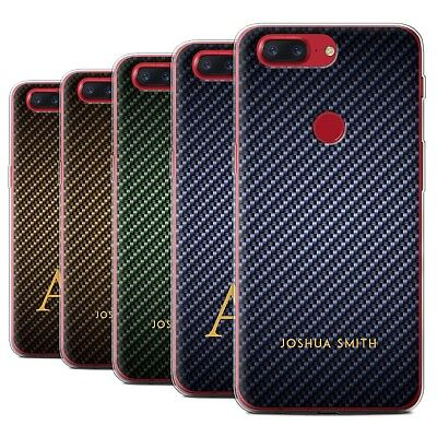 AU13.90 • Buy Personalised Carbon Fibre Effect Case For OnePlus 5T/Initial/Name/Text Gel Cover