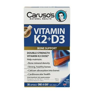 AU20.05 • Buy Caruso's Vitamin K2 + D3 30 Capsules For Strong Healthy Bones Calcium Absorption