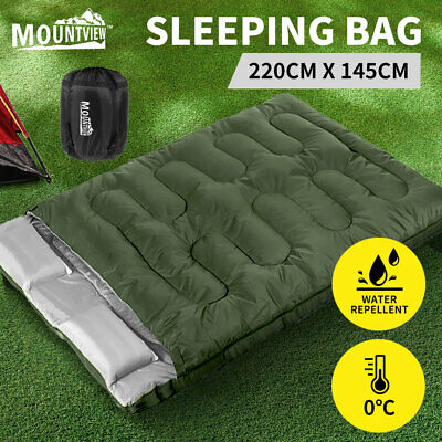 AU54.99 • Buy Mountview Sleeping Bag Double Bags Outdoor Camping Thermal 0℃-18℃ Hiking Tent