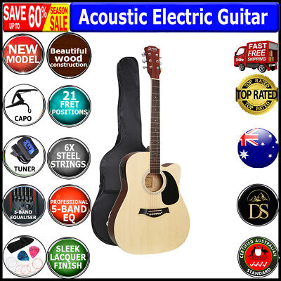 AU121 • Buy 41  Inch Acoustic Electric Guitar Wooden Classical With Pickup Capo Tuner Bag