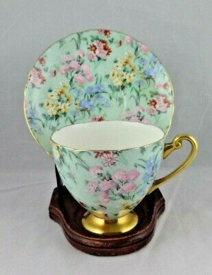 Shelley England  Melody Chintz  Ripon Shape Cup & Saucer, #13382 And #13453 • 87.74£