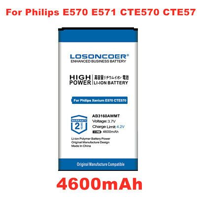 $17.58 • Buy LOSONCOER 4600mAh AB3160AWMT Battery For Philips Xenium E570 E571 CTE57 CTE570