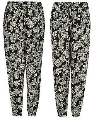 £7.95 • Buy Ladies Trousers Womens Harem Alibaba Cotton Floral Spring Elasticated Palazzo