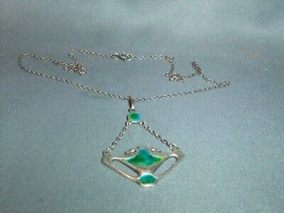 Silver And Enamel Charles Horner Pendant Chester 1908 With Modern Silver Chain • 495£