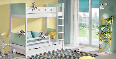 Wood Levels High Bed Double Beds Bunk Bed Children Youth Room New • 415.13£