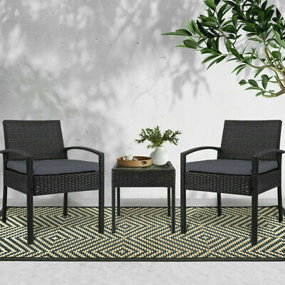 AU168.90 • Buy Gardeon Patio Furniture 3 Piece Wicker Outdoor Lounge Setting Rattan Set Cushion