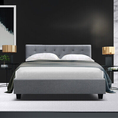AU105.90 • Buy Artiss VANKE Double Size Bed Frame Base Fabric Headboard Wooden Mattress