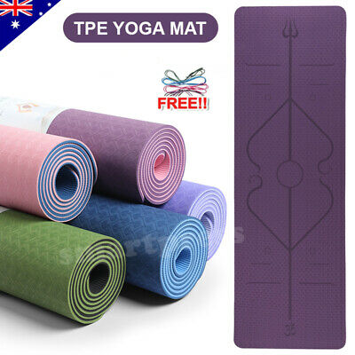 AU29.95 • Buy TPE Yoga Mat Exercise Fitness Eco Friendly Gym Pilates Sport Non Slip Dual Layer