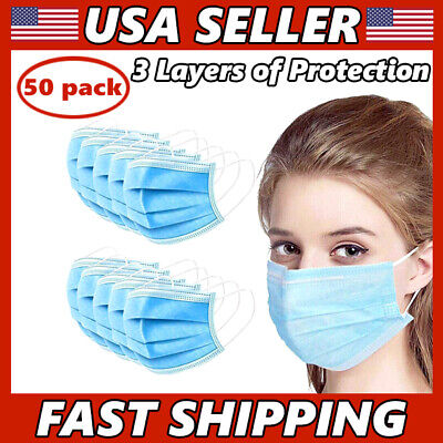 $22.50 • Buy 50 PCS Face Mask 3-Ply Medical Surgical Dental Disposable Mouth Cover