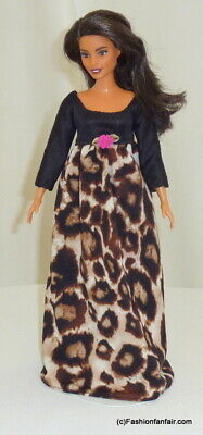 Leopard Print Black Handmade Clothes 4 Barbie Doll Gown Silkstone Dress Curvy 16 • 10.74£