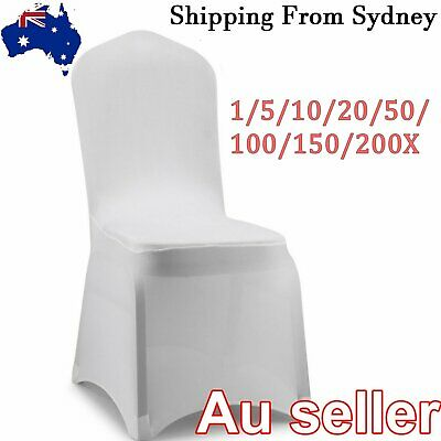 AU7.99 • Buy 1-200X White Chair Covers Full Seat Cover Spandex Stretch Banquet Wedding Party