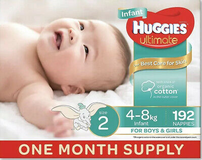 AU71.95 • Buy Huggies Ultimate Nappies, Unisex, Size 2 Infant (4-8kg), 192 Count, One-Month