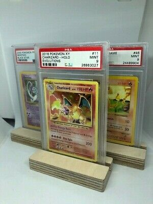£2.99 • Buy Graded Trading Card Stand Ply Wood Pokemon PSA YuGiOh Magic Wooden