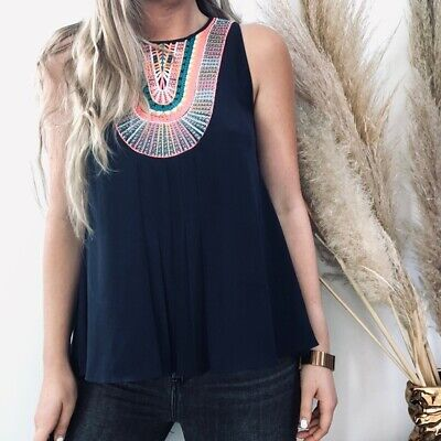 $ CDN32.16 • Buy Anthropologie Ranna Gill Atoll Embroidered Pleated Tank Top Women Sleeveless XS