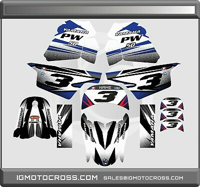 $ CDN71.36 • Buy YAMAHA PW 50 PW50  GRAPHICS KIT DECALS  Fits Years 1990 - 2018 WHITE BLUE BLACK