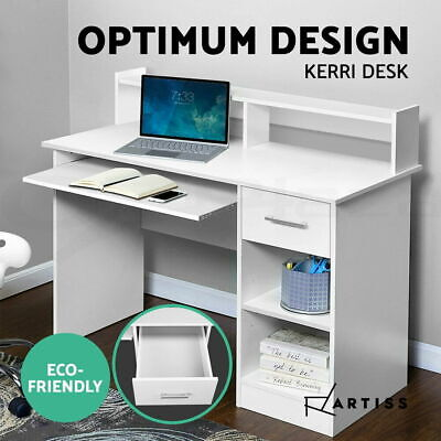 AU126.90 • Buy Artiss Office Computer Desk Study Table White Drawer Storage Laptop Student Home