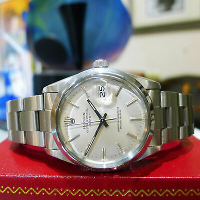 $ CDN5417.91 • Buy Mens Vintage ROLEX Oyster Perpetual Date 34mm Silver Dial Stainless Steel Watch