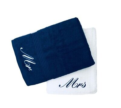£22.99 • Buy Embroidered Mr & Mrs Navy Blue and White Bath Towels Pair