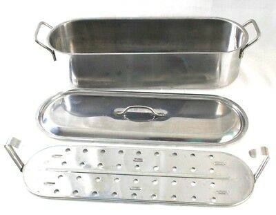 $27.95 • Buy Stainless Steel Fish Poacher Lift Out Insert + Lid 18  X 6  Wide X 4' High