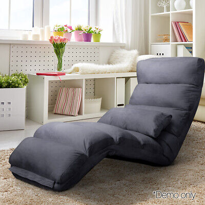 AU113.90 • Buy Artiss Lounge Sofa Floor Recliner Couch Folding Chair Fabric Futon Charcoal
