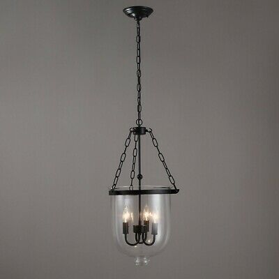 $148.79 • Buy Retro Clear Glass Shade Bell Jar Pendant Light With 3 Candle Lights Black Metal