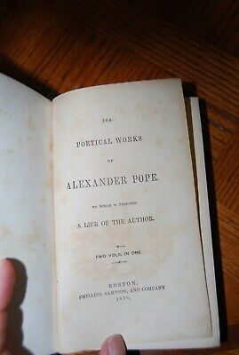 $22 • Buy The Poetical Works Of Alexander Pope, Two Vols. In One, 1858, RARE