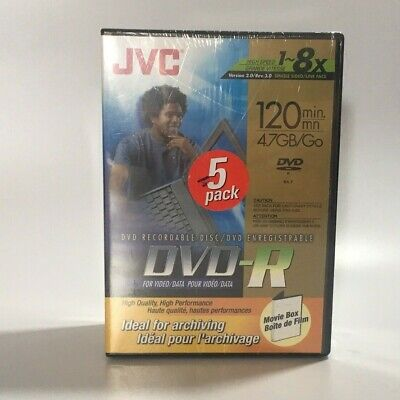 £10.86 • Buy JVC Blank Recordable DVD-R 5 Pack 4.7 GB 1~8x 120 Minutes Sealed In Tall Cases