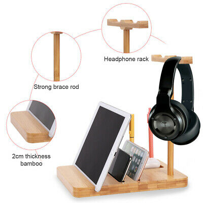 AU18.98 • Buy Portable Bamboo Headphone Stand Desktop Headset Hanger Holder Storage Rack Home
