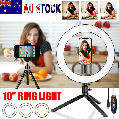 AU24.95 • Buy Dimmable LED Ring Light Lamp Selfie Camera Phone Studio Tripod Stand Photo Video