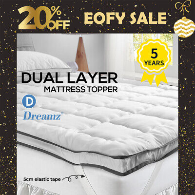 AU50.99 • Buy DreamZ Bedding Luxury Pillowtop Mattress Topper Mat Pad Protector Cover Double