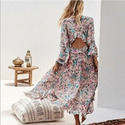 AU428.36 • Buy Spell And Thd Gypsy Sayulita Maxi Dress Floral Frilled M Size 10 12 Vintage